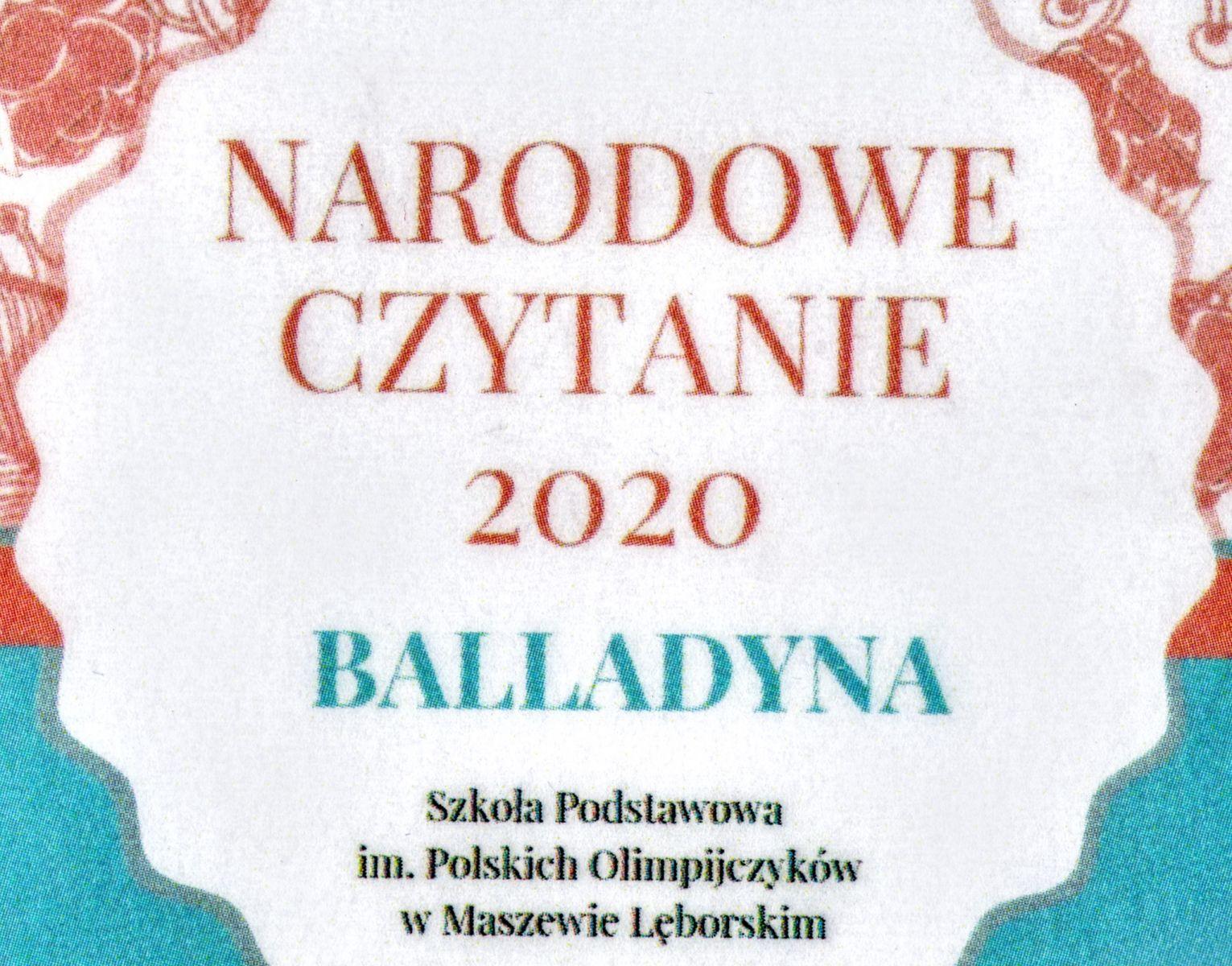 Plakat z napisem Narodowe Czytanie 2020 Balladyna Szkoła Podstawowa im. Polskich Olimpijczyków w Maszewie Lęborskim