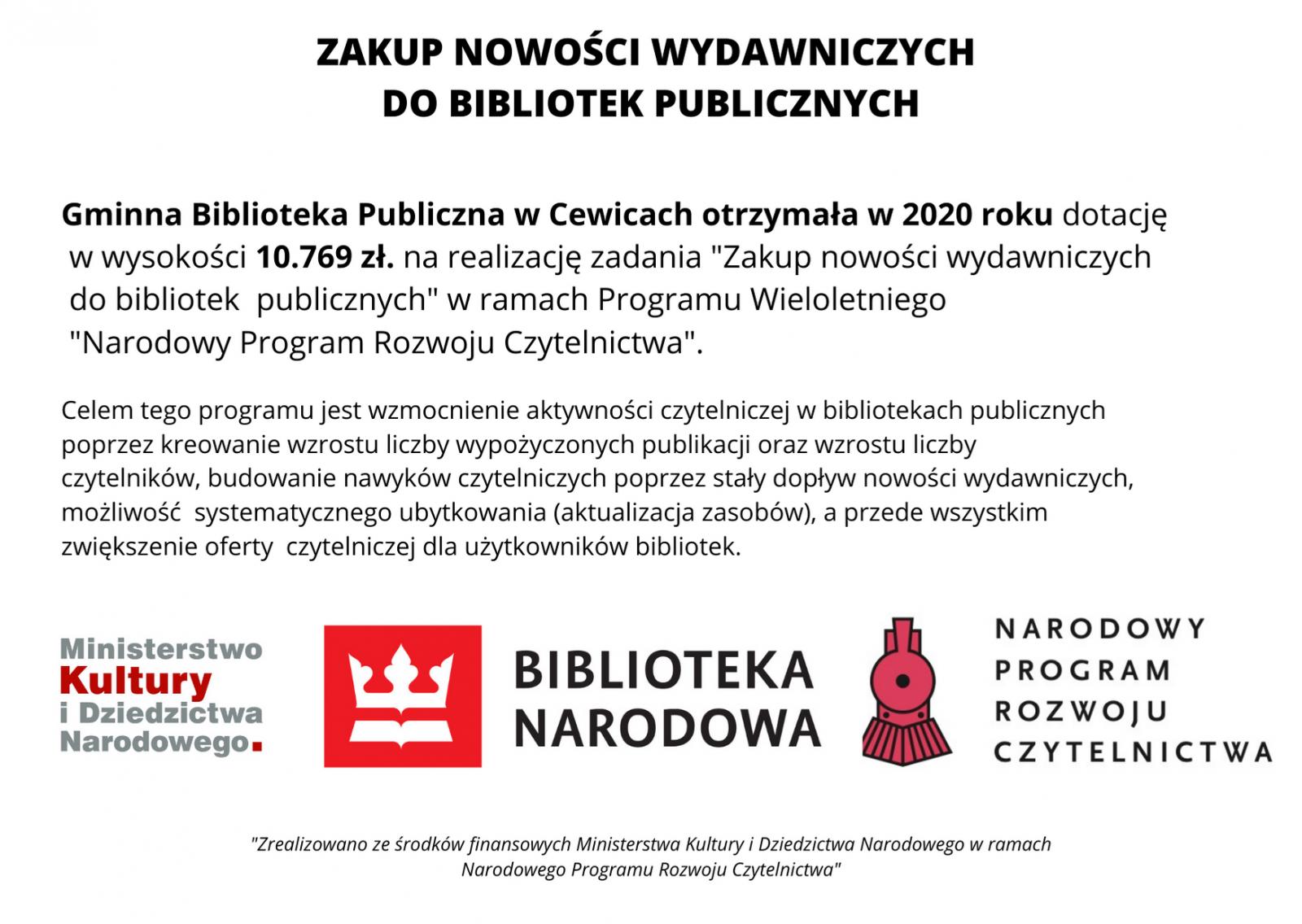"""Gminna Biblioteka Publiczna w Cewicach otrzymała w 2020 roku  dotację w wysokości 10 769 zł na realizację zadania """"Zakup nowości wydawniczych do bibliotek publicznych"""" w ramach Programu Wieloletniego """"Narodowy Program Rozwoju Czytelnictwa"""""""