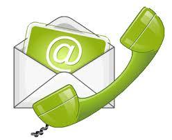 Obrazek: w białej kopercie zielona kartka z białym znakiem @. Przed kopertą słuchawka telefoniczna
